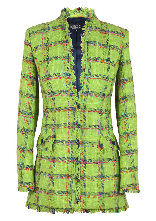 Green Tweed Long Edge to Edge Jacket - Evelyn