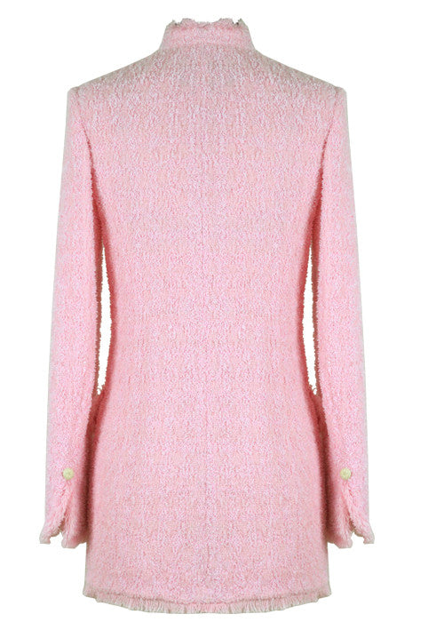 Pale Pink Long Jacket in Summer Tweed - Evelyn