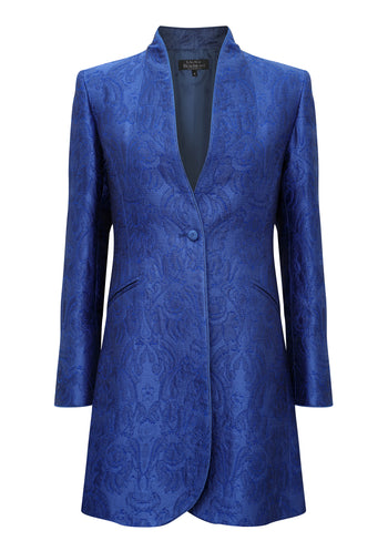 Long Jacket in Sapphire Brocade with Back Detail - Mia