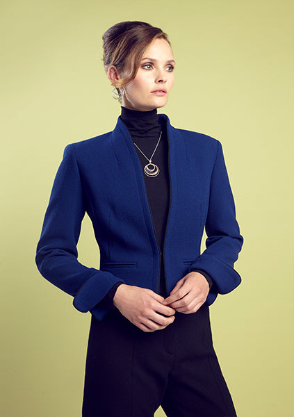 Business Jacket with Waist Fastening in Marine Blue Wool Crepe - Margo