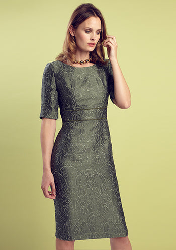 Tourmaline Silk Brocade Dress with Sleeves - Annie