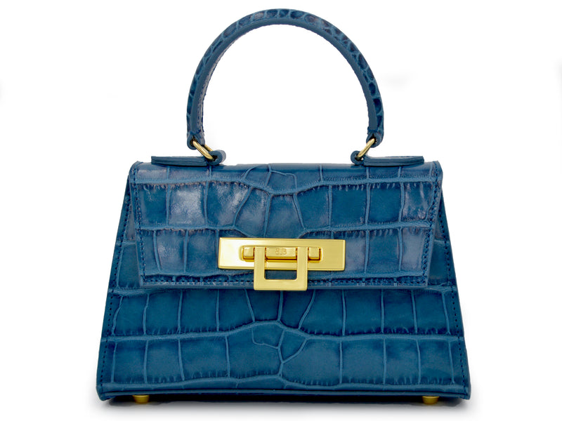Fonteyn Mignon 'Croc' Print Leather Handbag - Teal