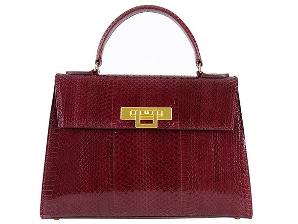 Fonteyn Large Snake Leather Handbag - Plum