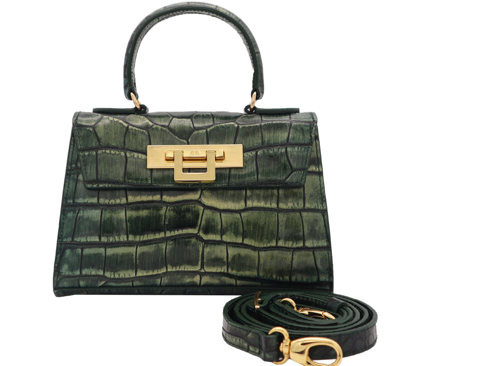 Fonteyn Mignon 'Croc Print' Leather Handbag - Metallic Green
