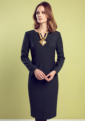 Business Dress With Sleeves in Forest Green Charmelaine - Evette