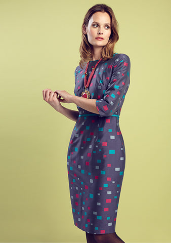 Turquoise tweed dress with 3/4 sleeves - Angela