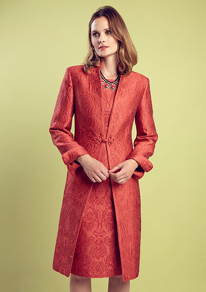 Silk brocade dress coat in red for special occasions