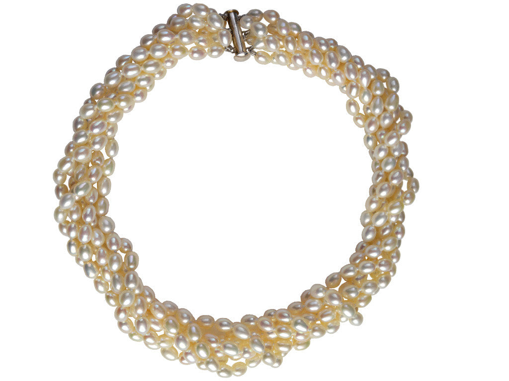 6 Strand Freshwater Pearl Necklace - Pale Gold