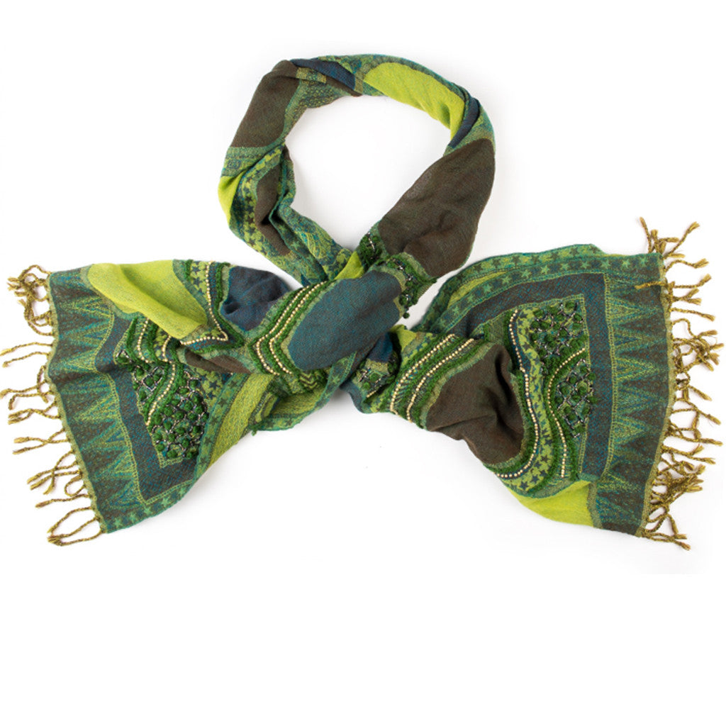 Embroidered Scarf - Green