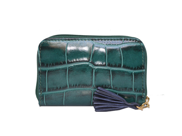 Small Zip Purse 'Croc Print' Leather - Dark green