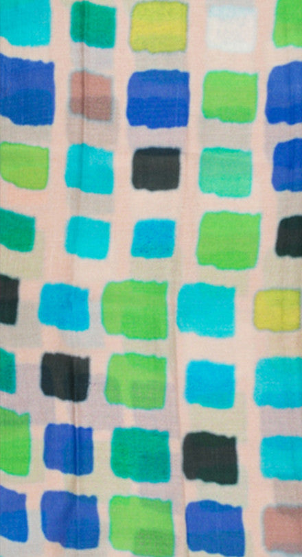 Wool Scarf with Coloured Blocks - Beige\Green
