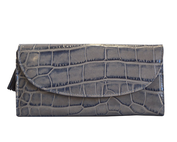Large Purse in 'Croc Print' Leather -Light grey