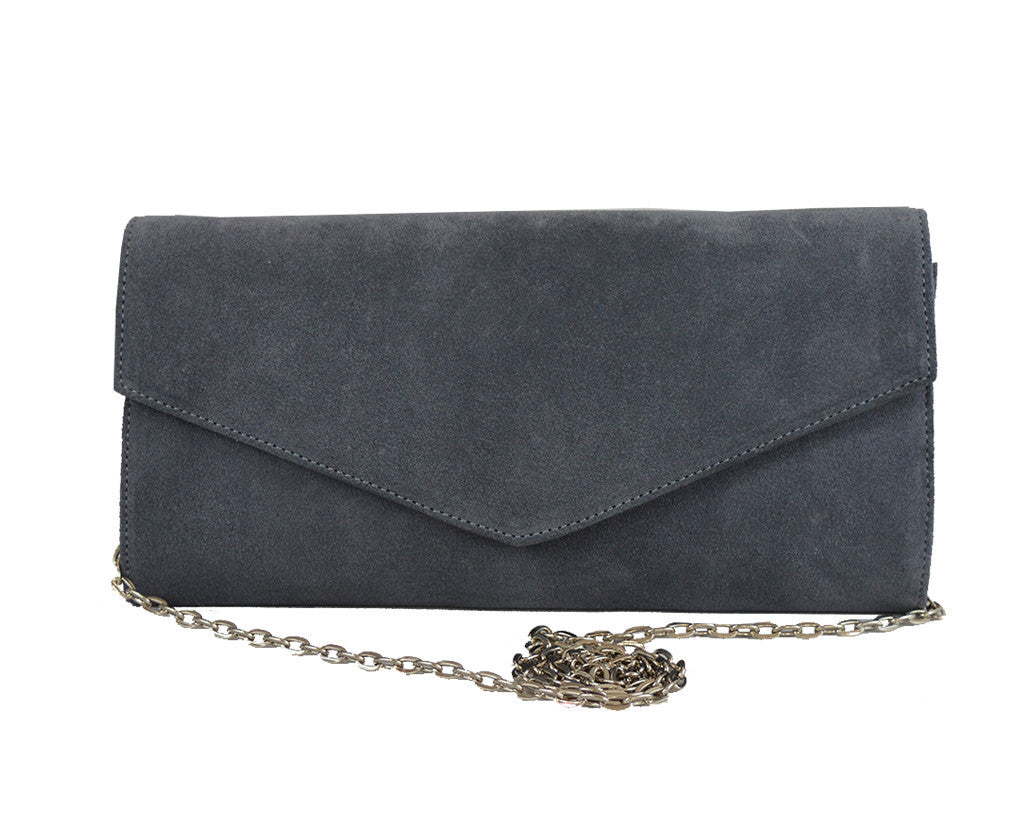 Handbag - Clutch Handbag Suede - Dark Grey