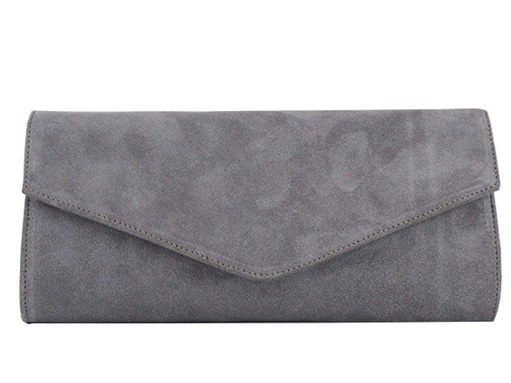 good looking new authentic fashionablestyle Clutch Handbag Suede - Pale Grey