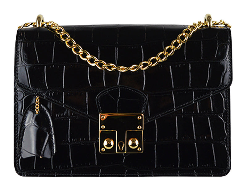 Handbag - Coppelia 'Croc Print' Leather Shoulder Bag - Black
