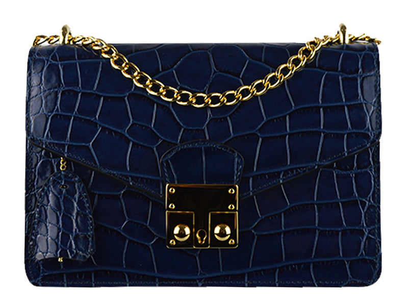Handbag - Coppelia 'Croc Print' Leather Shoulder Bag - Dark Navy