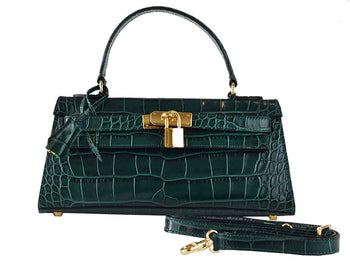 Handbag - East West 'Croc Print' Leather Handbag - Dark Green