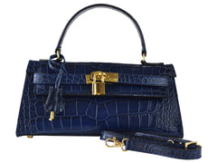 Handbag - East West 'Croc Print' Leather Handbag - Navy
