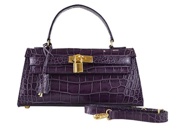 Handbag - East West 'Croc Print' Leather Handbag - Purple