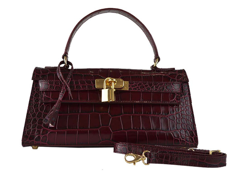 Handbag - East West 'Croc Print' Leather Handbag - Wine
