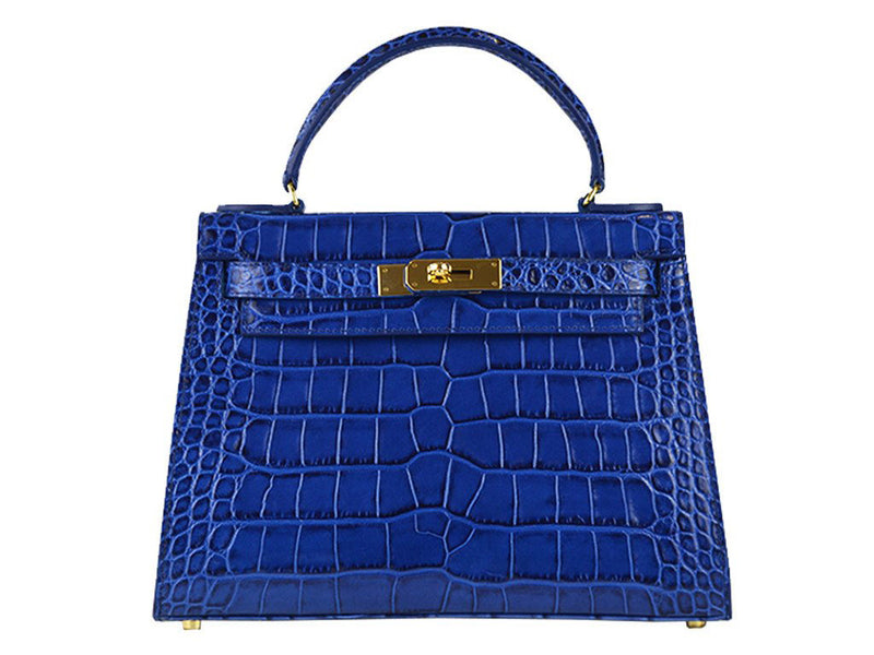 Manon Large 'Croc Print' Leather Handbag - Cobalt
