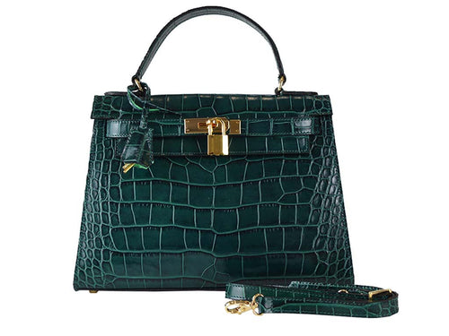 Handbag - Manon Medium 'Croc Print' Leather Handbag - Dark Green