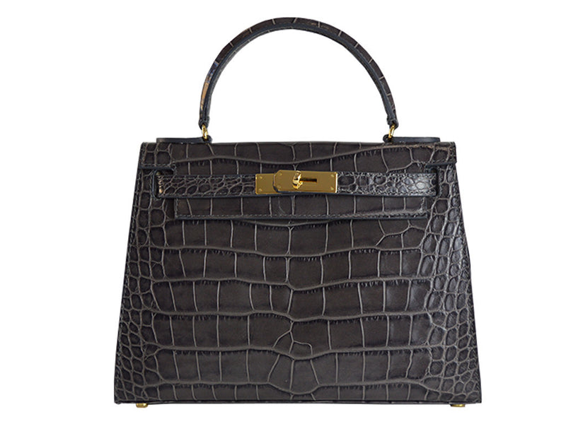 Handbag - Manon Medium - 'Croc Print' Leather Handbag - Dark Grey