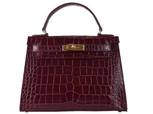 Handbag - Manon Medium 'Croc Print' Leather Handbag - Wine