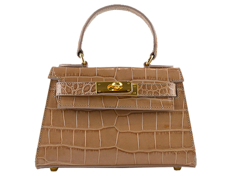 Handbag - Manon Mignon - 'Croc Print' Leather Handbag- Caramel