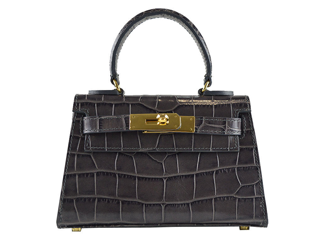 Handbag - Manon Mignon 'Croc Print' Leather Handbag - Dark Grey