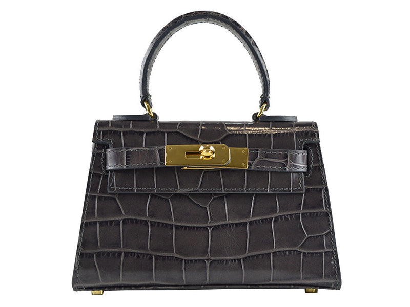Handbag - Manon Mignon - 'Croc Print' Leather Handbag - Dark Grey