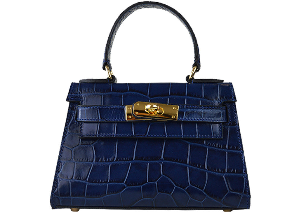 Handbag - Manon Mignon 'Croc Print' Leather Handbag - Navy