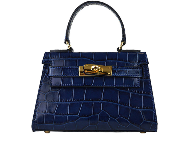Handbag - Manon Mignon - 'Croc Print' Leather Handbag - Navy