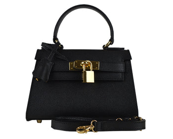 Handbag - Manon Mignon - Palmellato Leather Handbag - Black