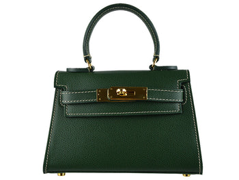 Handbag - Manon Mignon - Palmellato Leather Handbag - Dark Green
