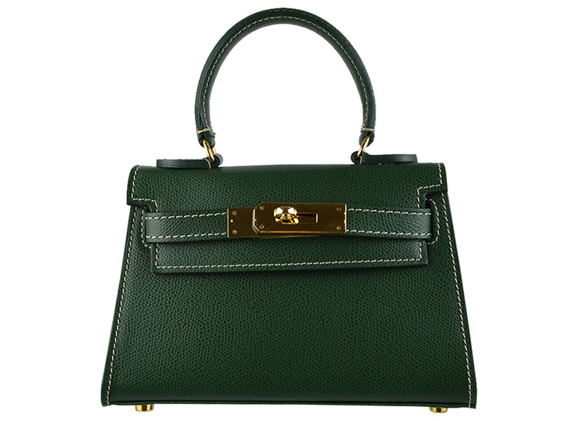 Handbag - Manon Mignon Palmellato Leather Handbag - Dark Green