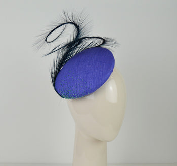 Hat - Headpiece In Bluebell Raw Silk Tussah With Ostrich Feathers And Beads - Arabella