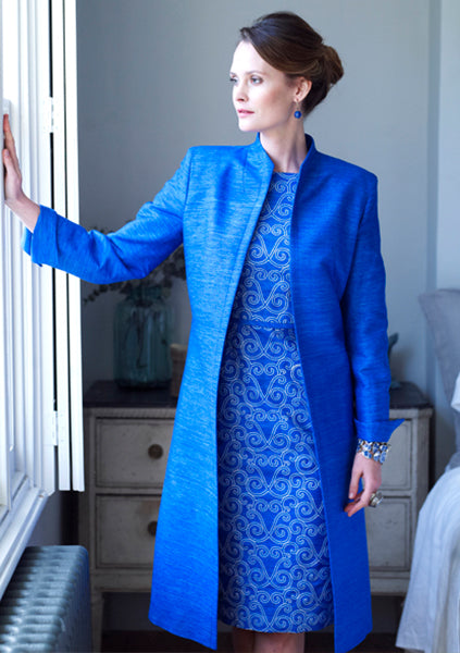 Raw silk tailored dress coat for weddings and horse racing and the mother of the bride