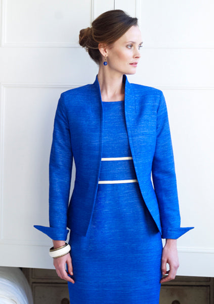 Business Jacket in Cobalt Raw Silk - Diana