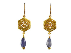 Gold Plated Filigree Brass with Iolite