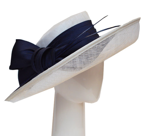 Up Brim Hat with Silk Bow - Sapphire and Ivory