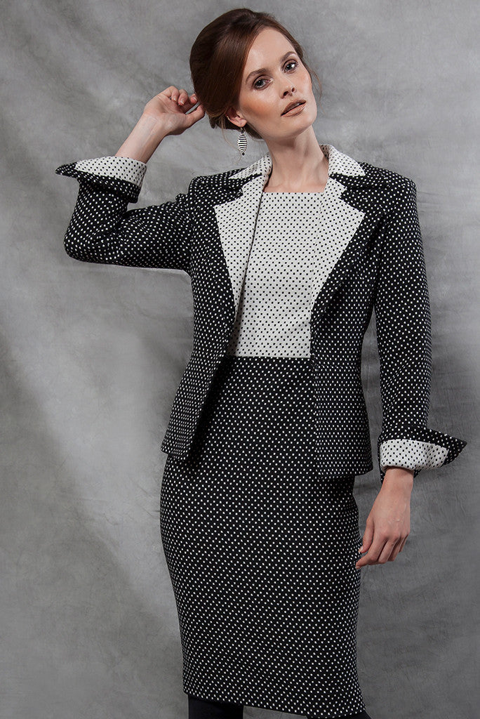 Jacket - Black And White Spotted Jacket With Peplum - Joan