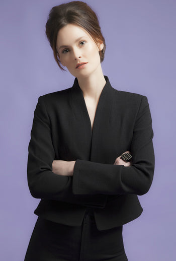 Jacket - Business Jacket With Waist Fastening In Black Wool Crepe - Margo