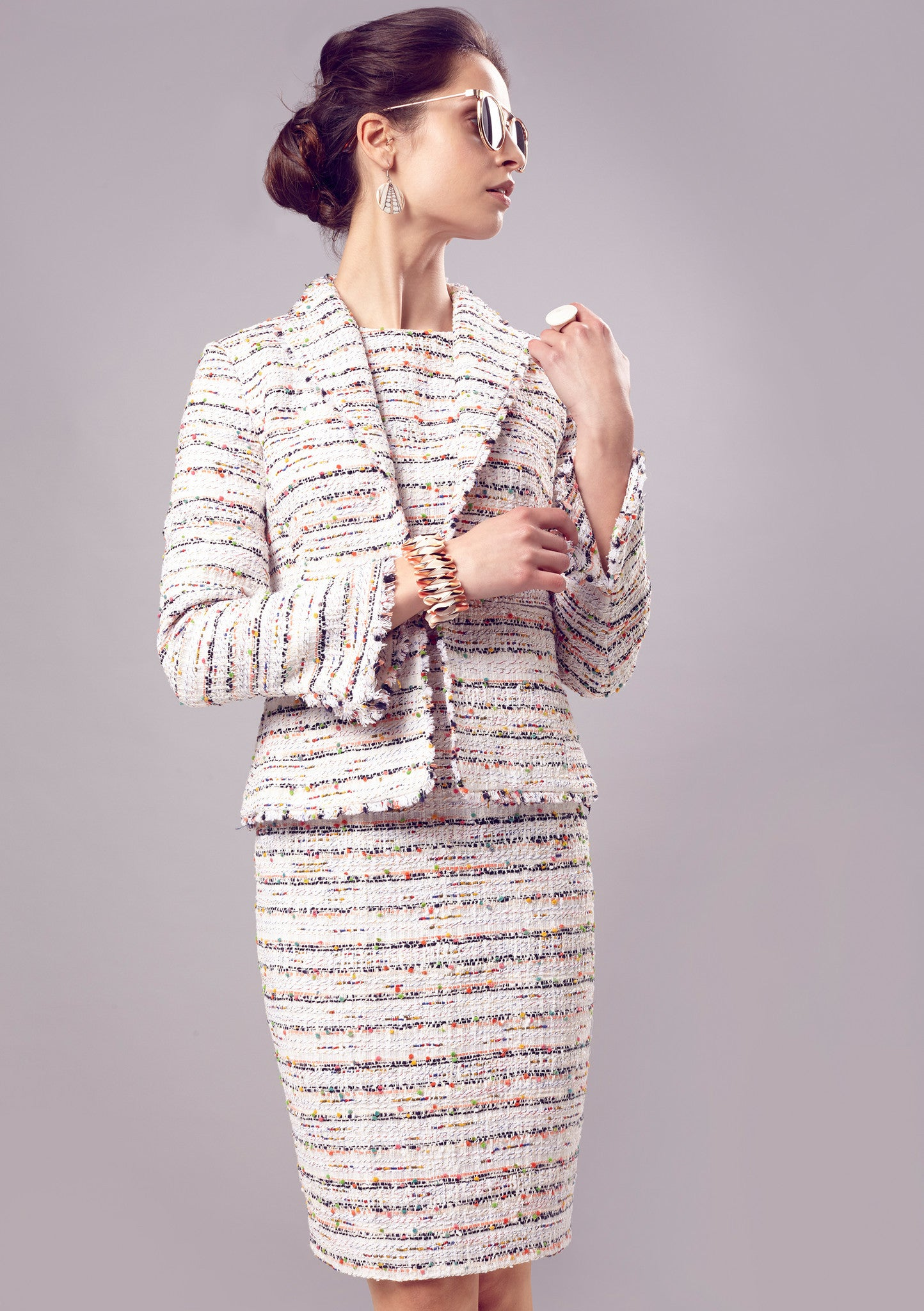 Jacket - Fringe Edge Jacket In Ivory Striped Tweed - Daphne