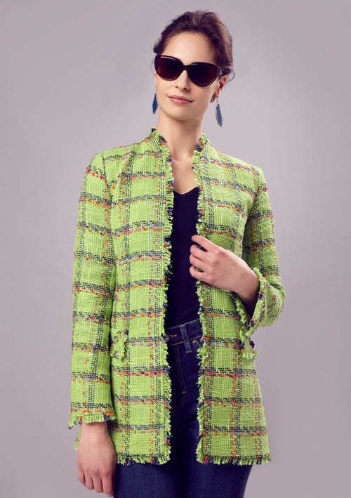 Jacket - Green Tweed Long Edge To Edge Jacket - Evelyn