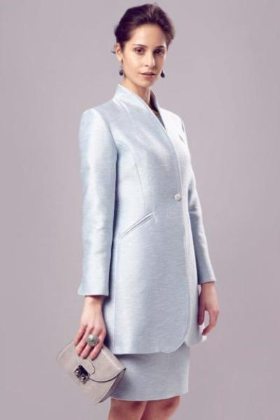 Long Jacket In Pale Blue jacket for a mother of the bride outfit
