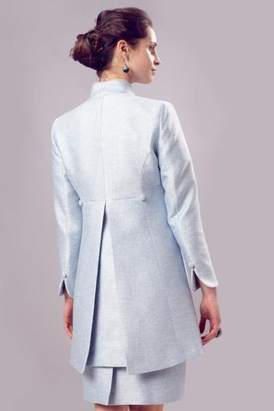 Jacket - Long Jacket In Pale Blue Summer Tweed With Back Detail - Mia