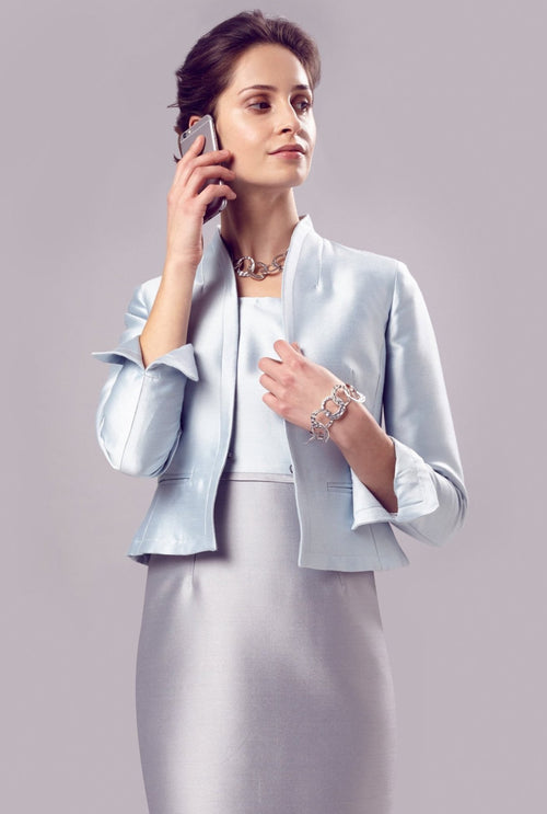 Jacket - Pale Blue Short Edge-to-Edge Silk Jacket - Margo