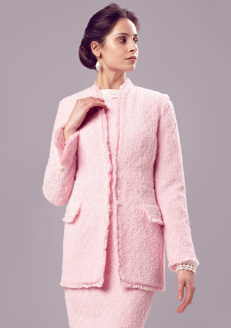 Jacket - Pale Pink Long Jacket In Summer Tweed - Evelyn