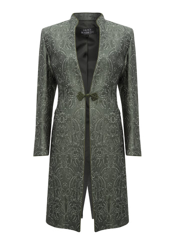 Tourmaline Dress-Coat in Silk Brocade with Cord Trim and Frogging - Vicky